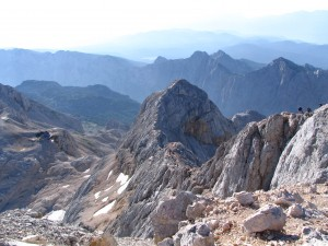 Triglav summit ridge with Krediarici hut below