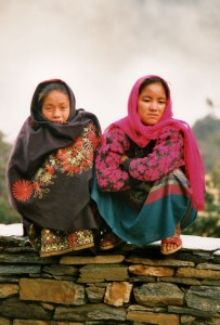 Nepaleses girls on a wall April 2000